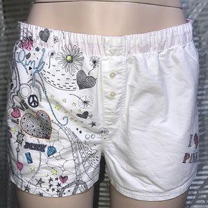 ❤️ VS Pink White Pajama Boxer Fold Over Shorts 👄